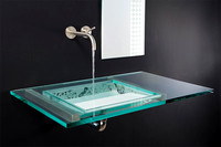Custom Glass Vanity Top & Sink
